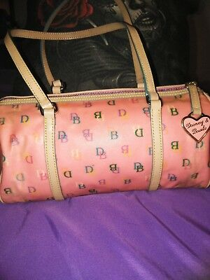 Dooney & Bourke Pink Bubblegum Coated Canvas Barrel Shoulder Bag (Njl014679)