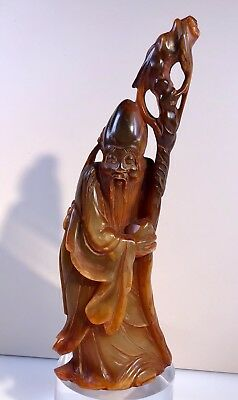 Rare old chinese figure horn carved monk 19,5cm china 19 cen.