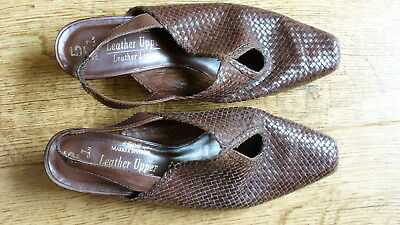 Vintage brown leather woven shoes M&S ST.Micheal UK 5