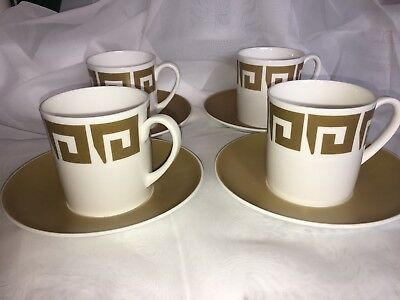 Susie Cooper Old Gold Keystone Coffee Cup & Saucer X 4 - Vintage China WEDGWOOD