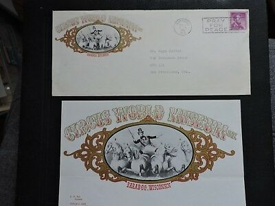 1962 Baraboo Wi Circus World Museum Ad Cover +Letter ! Coil > Apo Okinawa Rykyus