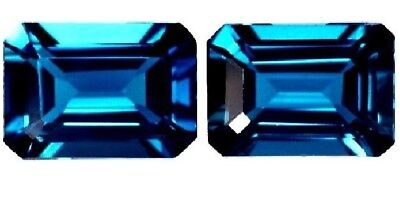 NATURAL EMERALD CUT LONDON-BLUE TOPAZ GEMSTONE LOOSE PAIR 6 x 4 mm AWESOME GEMS