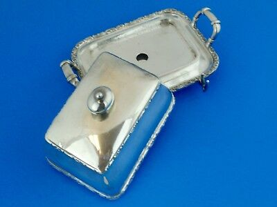 Rogers Smith & Co. Meriden Silver Plate 3 piece Covered Butter Dish