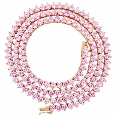 18k Rose Gold Brilliant Pink Sapphire Tennis Chain Necklace Over 925 Silver