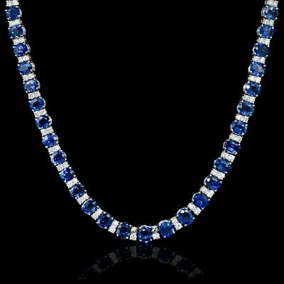 "Diamond and Blue Sapphire 14k White Gold Finish 18"" Classic Necklace Over Silver"