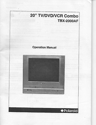 Operation manual for Polaroid TV/DVD/VCR Combo TBX-2000AF