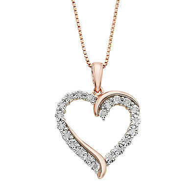 0.2CT Round Diamond Rose Gold Heart Pendant Necklace Over 925 Silver