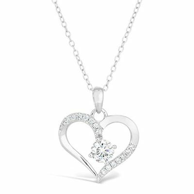 0.7Ct Diamond 14K White Gold Heart Pendant w/18'' Chain Over Silver Gift For Her