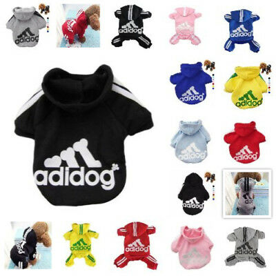 Casual Adidog Pet Puppy Jumpsuit Winter Warm Clothes Hoodie 4-Leg Sweatshirt
