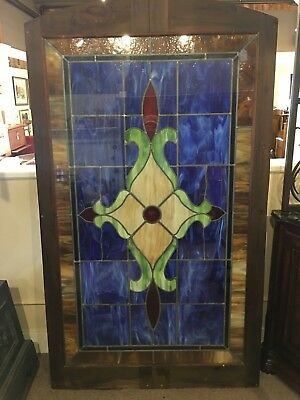 "Large Vintage Leaded Stained Glass Window Beautiful Colors 73""X 42""  3 Available"