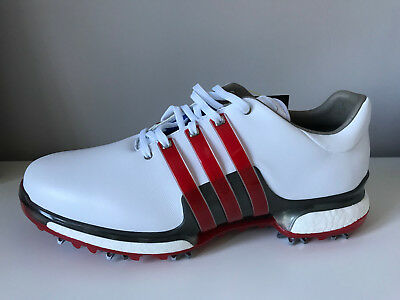 UK 10.5  £150 Adidas TOUR 360 BOOST 2.0 GOLF SHOES WHITE / RED