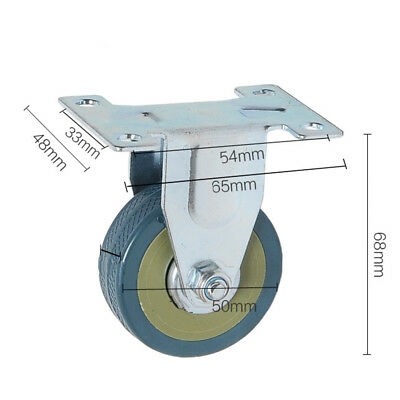 """Plate Wheel Caster Roller Replacement PVC Steel Zinc-plated 2"""" Quiet Smooth"""