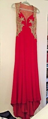 JVN by Jovani SZ 2 RED Sleeveless Gold and Mesh Prom Dress - Small Train - EUC