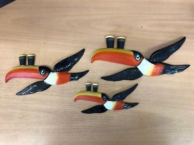 "Carlton Ware Vintage Guinness ""3 Fiying Toucans"" GA2259A/B/C - Good condition!"