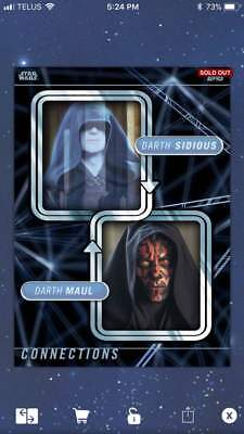 Topps Star wars Card Trader Connections Mentor Proteges Darth Sidious Maul