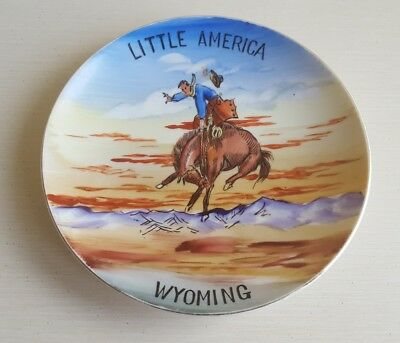 """7-1/4"""" Wyoming Rodeo Cowboy Souvenir Vintage 1950's Hand Painted Plate~JAPAN"""