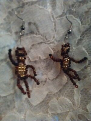 NWOT Hand Crafted Brown Dancing Monkey Drop Dangle Seed Bead Hook Earrings