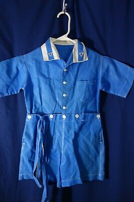 1930's Little Boy's Short Pants Set-Blue Shirt & Shorts-Embroidered Collar- SALE