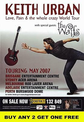 KEITH URBAN 2007 Australian Laminated Tour Poster