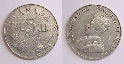 1932 Canadian Nickel Canada Five Cents  VF - F Very Fine - Fine