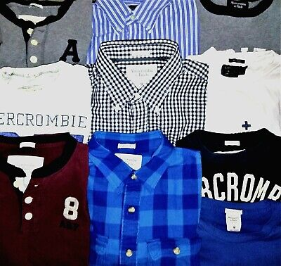 ABERCROMBIE & FITCH LOT OF 10 SIZE M ~Tees/Henleys/Thermal/Button Downs/Flannel