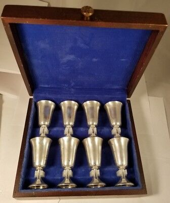 Manchester Silver company aperitif Cordial Sterling Silver 8 Cup Set In Box