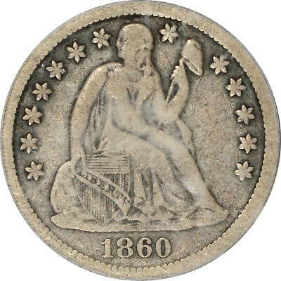 1860-S 10C Liberty Seated Dime PCGS VF20 CAC F-101
