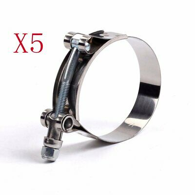 "5pcs 108-116mm Stainless Steel T-Bolt Clamp for ID:4"" inch 102mm Silicone Hose"