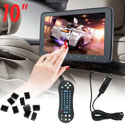 "12W 10"" HD Digital LCD Screen Auto Car Headrest Monitor DVD/USB/SD Player Video"