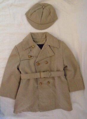 Vintage Boys Military Coat and Hat Set Double Breasted Army Tan and Buttons 4T