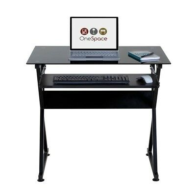 Ultramodern Black Glass Computer Desk With Pull Out Keyboard Tray By Onespace