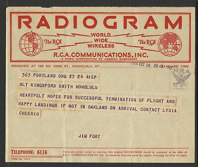 Kingsford-Smith Radiogram - 1st East-West Pacific Crossing - 24/10/1934 - 3:50pm
