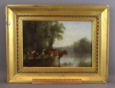 Antique Signed American Country Cow Lake O/C Landscape Oil Painting, NR