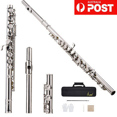 New Silver Plated 16 Closed Holes C Key Flute w/Cloth Screwdriver&Bag Durable