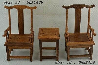 Collectible Decorated Wonderful Hand Boxwood Carving A Set Of Chair & Table