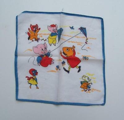 VINTAGE 1980's CHILD's HANDKERCHIEF - Animals - 24.5cm x 24.5cm  Estate Item