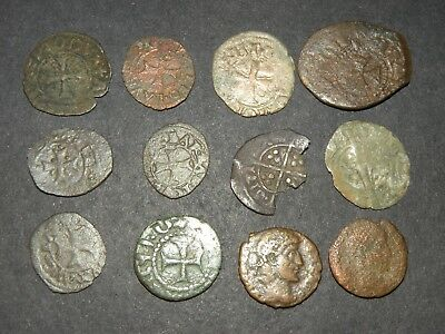 Medieval Cross Coins Lot 12 Total Silver 1200-1500's Ancient Crusader Templar +