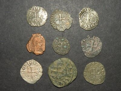 Medieval Cross Coins Lot 9 Total Silver 1200-1500's Ancient Crusader Templar +