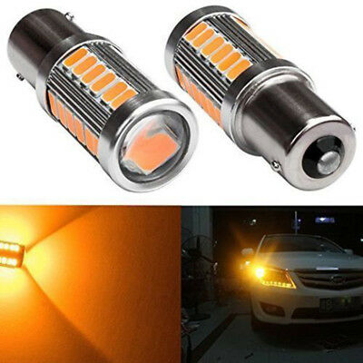 2x Amber P21W 1156 BA15S Cree LED Bulb 5730 SMD Super Bright Car Light bulb