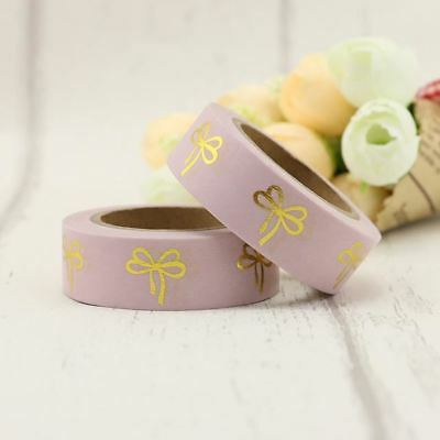 Gold Bow 1X Foil Washi Tape Scrapbooking Tools Cute Adhesive Decoration Japanese