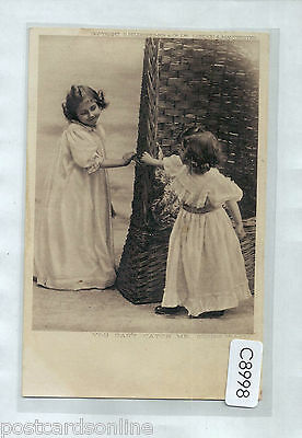 C8998cgt People Cute Children You Cant Catch Me vintage postcard