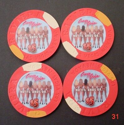 4- Crazy Girls Butts Riviera Casino $5 Chips Obsolete Closed