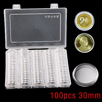 100Pcs 30mm Coin Cases Capsules Holder Clear Plastic Round Storage Box