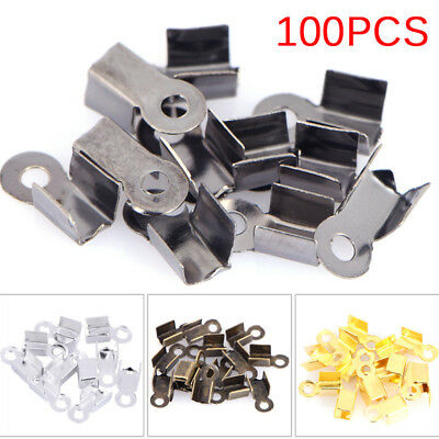 100PCS End Caps Clasps Leather Cord Crimp Bead Connectors DIY Jewelry Findings F