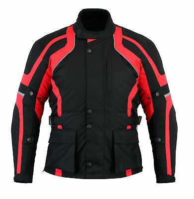 Texpeed Mens Black & Red Waterproof Armoured Motorcycle / Motorbike Jacket