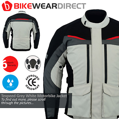 Texpeed Beige & Black Waterproof Armoured Motorcycle / Motorbike Jacket - M-6XL