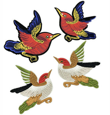 2PCS Bird Embroidered Patches Badge Iron On Sewing For Clothes Embroidery DIY
