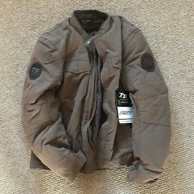 NEW RST Crosby Isle of Man TT Textile Motorcycle Jacket - Brown - Large