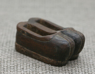 Very Rare Antique Chinese Hand Carved Wooden Shoes Toggle Circa late 1700s