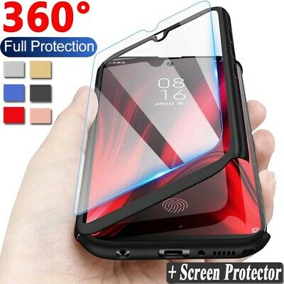 For Xiaomi Redmi 7 6A 5 4X Note 7 6 5 Pro 360° Full Cover Case + Tempered Glass